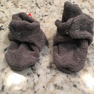 Gray baby Zutano booties
